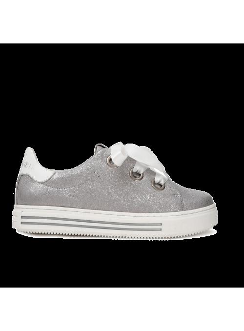 Sneakers argentées en cuir et ruban CafèNoir