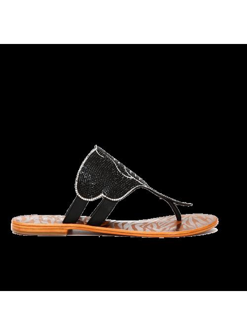 Sandales à strass noires CAFèNOIR