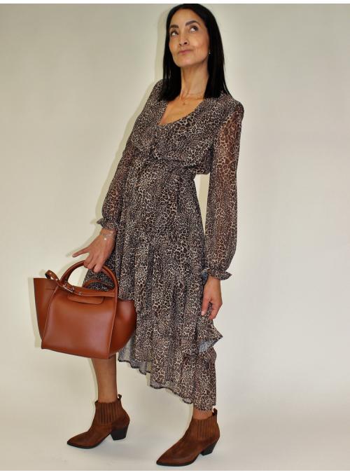 Robe Asymétrique imprimé léopard Vicolo