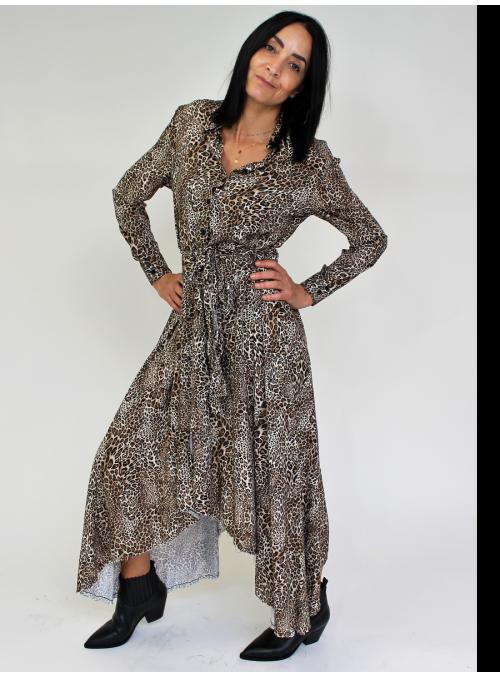 Robe longue et asymétrique imprimé léopard Please