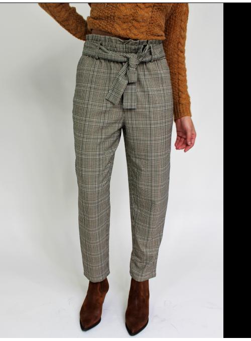 Pantalon Taille Haute à Carreaux Vila