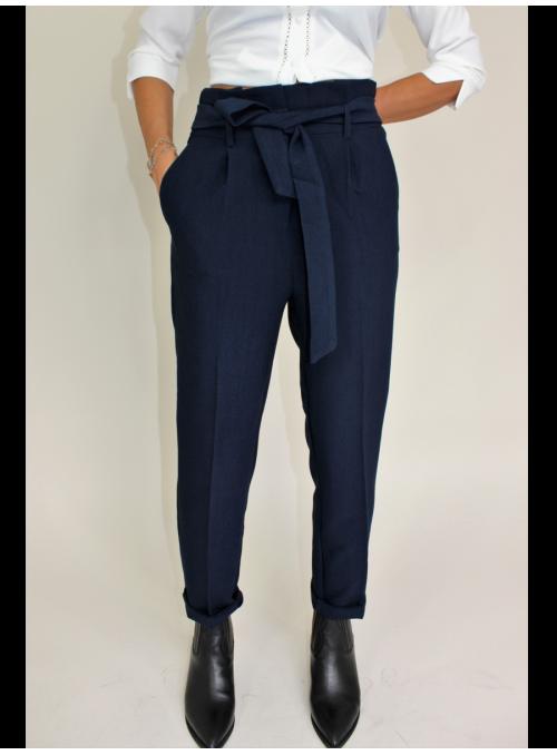Pantalon 7/8 Taille Haute Bleu Nuit Vila