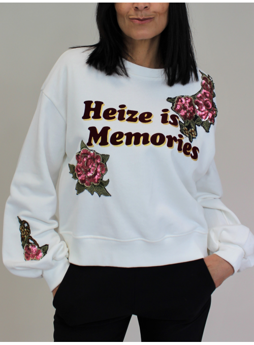 "Sweat Blanc écru ""Heize is Memories"" Immacolata"