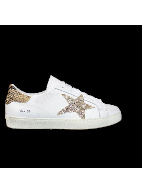 Sneakers Blanches Piton et étoile Strass Dorée Ovyé