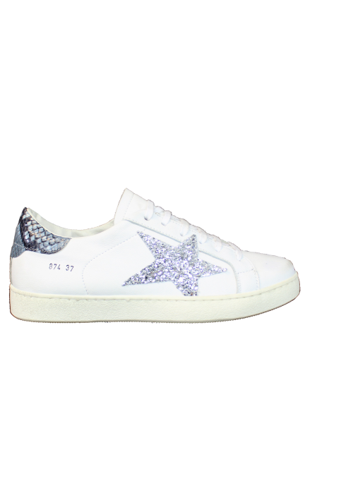 Sneakers Blanches Piton et étoile Strass Argent Ovyé