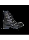 Bottines en cuir noir à lacets et boutons argent Ovyé