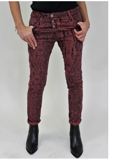 Jean Baggy imprimé serpent Bordeaux et Noir P78A Please