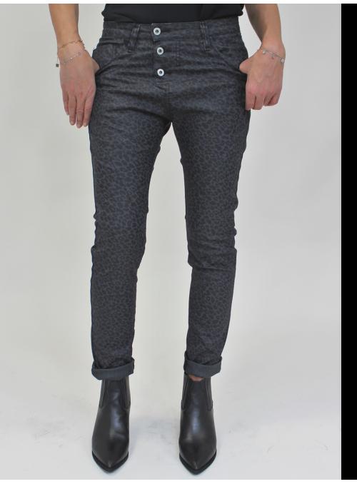 Jean Baggy P78A imprimé léopard gris et noir Please