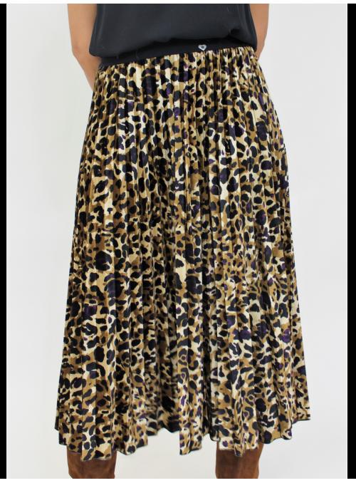 Jupe plissée et imprimée léopard Please