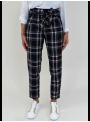 Pantalon taille haute à carreaux Please