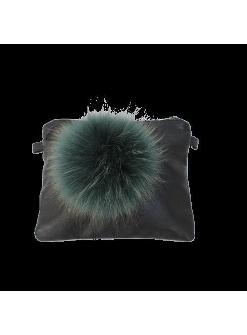 Pochette en cuir noir avec Pompon en fourrure vert pétrole Oakwood