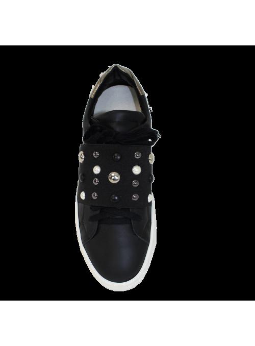 Sneakers Cloutées Noires et doré Charme 2.0