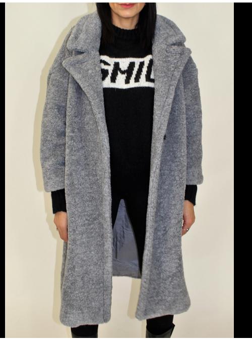 Manteau bouclé en fausse fourrure gris mélange Imperial