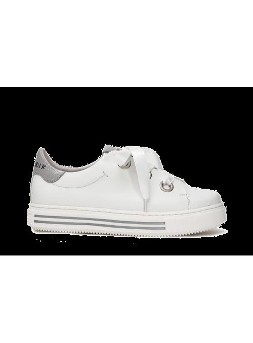 Sneakers blanches en cuir et ruban CafèNoir