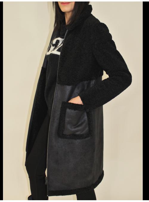 Manteau bi-matière noir en faux mouton Beaumont