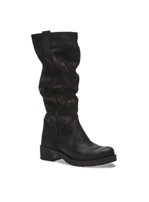 Bottes noires plissées en nubuck Ovyé