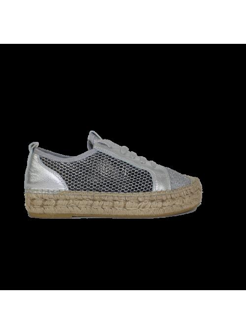 Sneakers à semelle en corde et cuir argent/glitter Ovyé