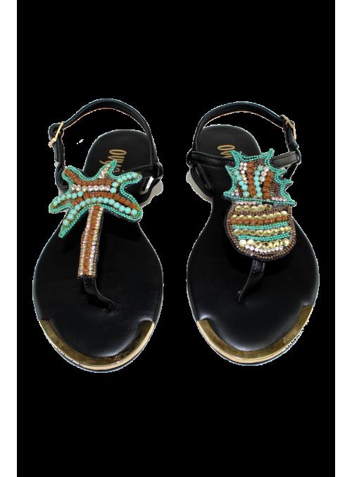 Sandales noir à strass ananas et palmier Ovyé