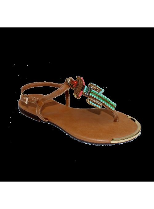 Sandales camel à strass et cactus Ovyé