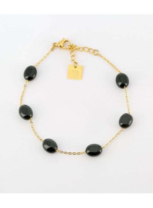 Bracelet Amélia onyx noir
