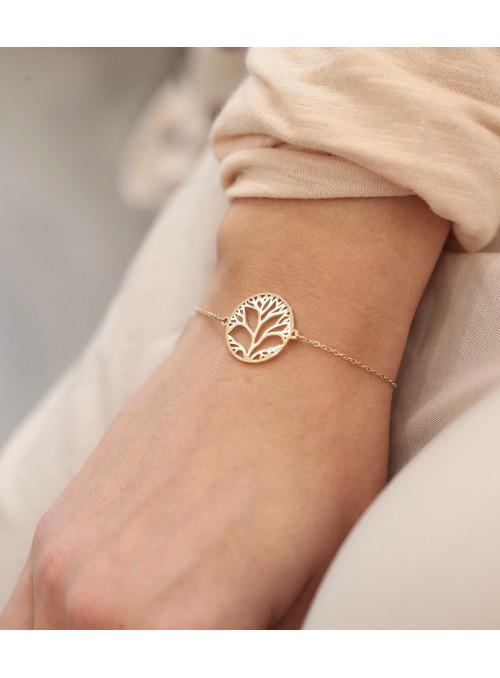 Bracelet Arbre de vie – Acier doré