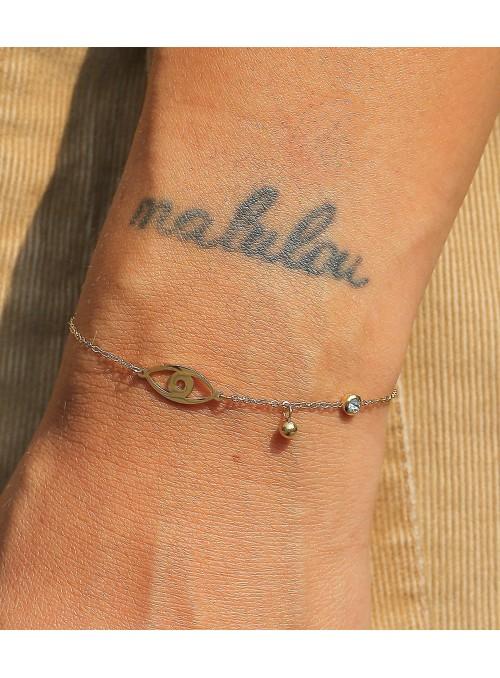Bracelet Nazar acier doré