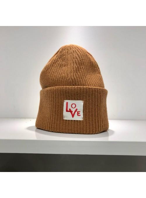 """Bonnet """"Love"""" Laine et Cachemire marron clair"""