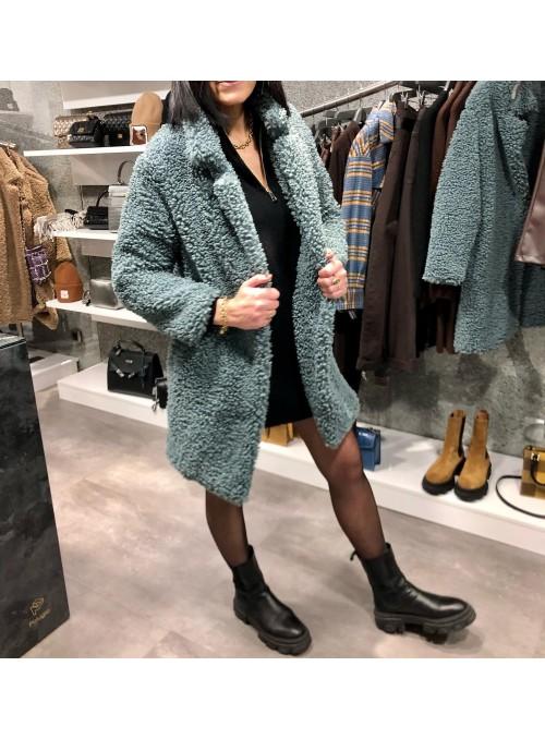 Manteau bouclé bleu