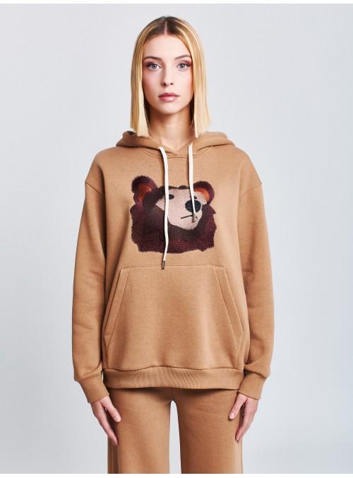 "Sweat à capuche camel ""ours"""