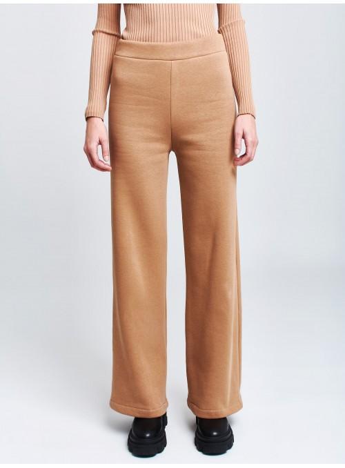 Pantalon large en polaire camel