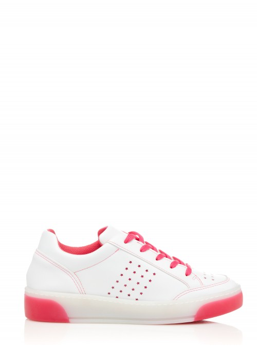 SNEAKERS BLANCHES ET FUCHSIA