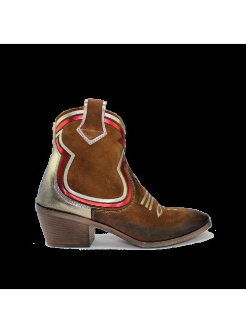 Bottines texanes à motifs rouges Ovyé