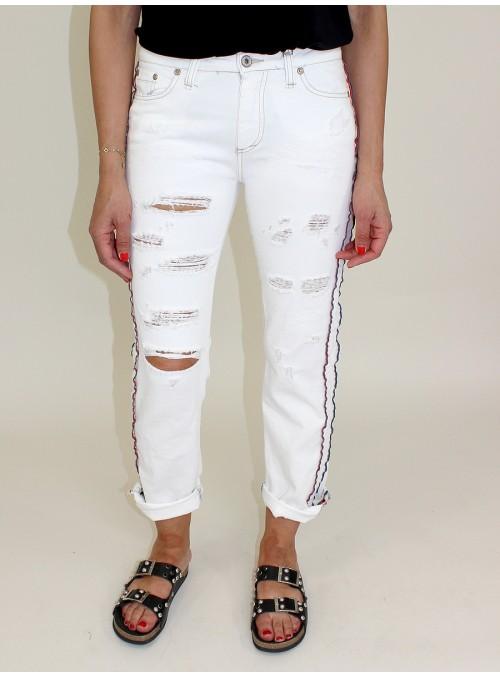 Jean blanc P3E à bandes latérales Please
