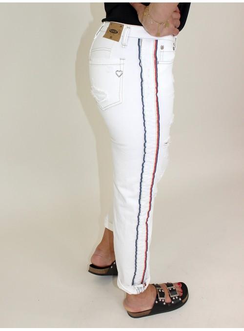 Jean blanc eà bandes latérales Please
