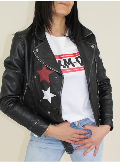 Perfecto en cuir et étoiles Noir Oakwood