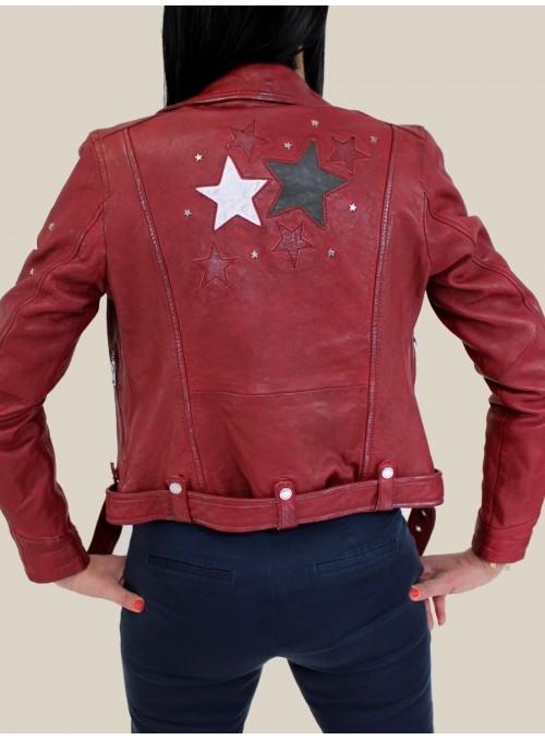 Perfecto en cuir et étoiles Bordeaux Oakwood