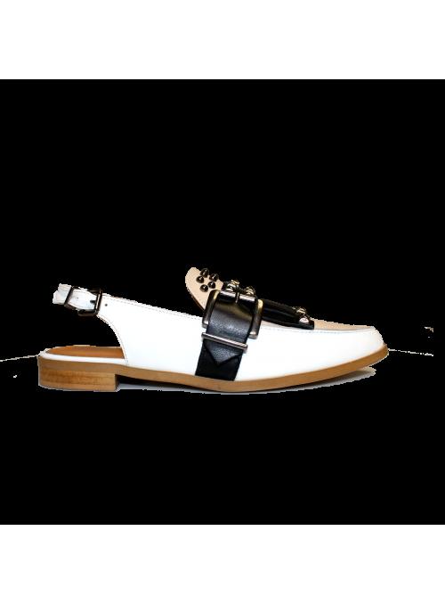 Sandales tricolores à franges et clous Ovyé